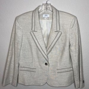 Ann Taylor Loft Sparkle Linen Career Work Blazer